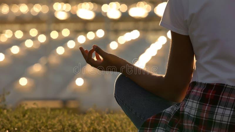 Primo piano della donna esile che si siede nell'yoga meditare e di pratica di posa del loto, immagine stock