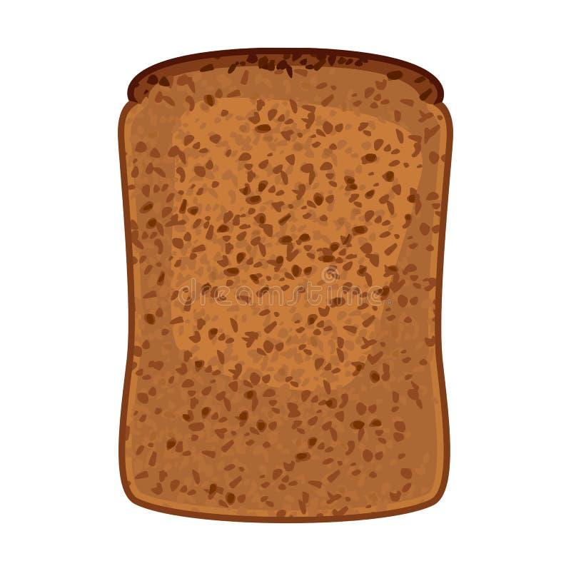 Primo piano della fetta di illustrazione isolata del pane integrale illustrazione vettoriale