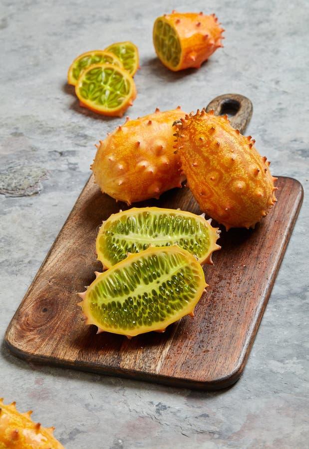 Primo piano della frutta di Kiwano immagine stock libera da diritti