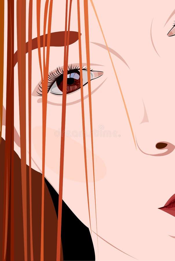 Primo piano della giovane donna del fronte illustrazione vettoriale