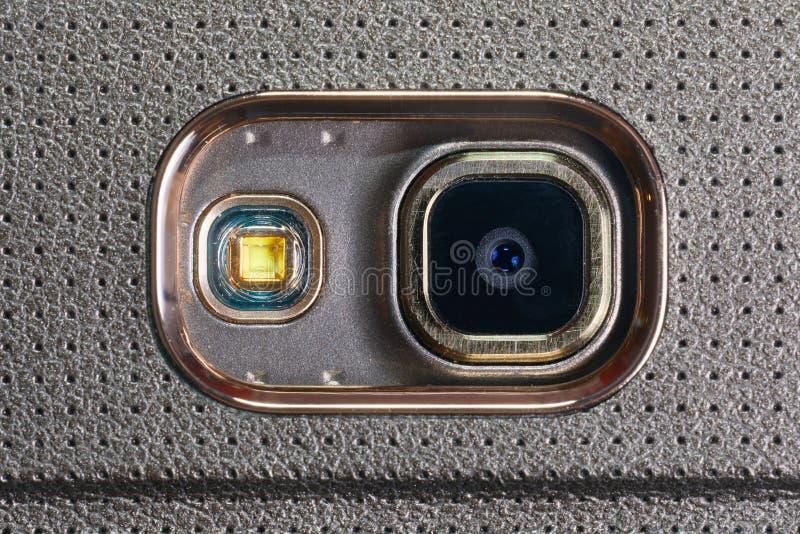 Primo piano della macchina fotografica del telefono fotografia stock libera da diritti