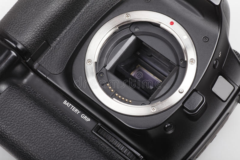 Primo piano della macchina fotografica di DSLR. fotografie stock