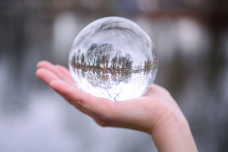 Primo piano della mano che tiene una sfera di vetro con la riflessione degli alberi fotografie stock
