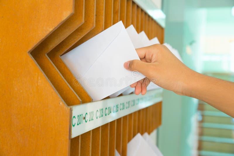 Primo piano della mano del ` s della persona che rimuove lettera dalla cassetta delle lettere immagine stock libera da diritti