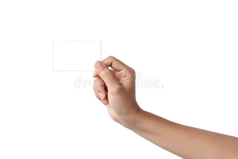 Primo piano della mano della donna che tiene la carta di credito o busine vuota in bianco fotografie stock libere da diritti