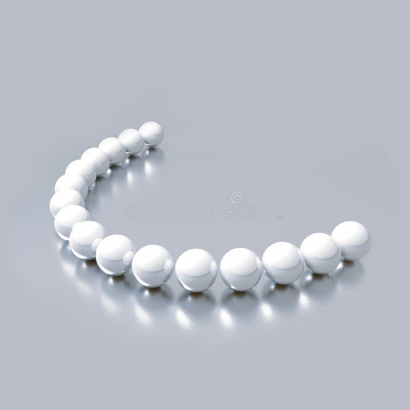 Primo piano della palla brillante bianca delle perle con le riflessioni Cure odontoiatriche dell'illustrazione e bei denti 3d ren royalty illustrazione gratis