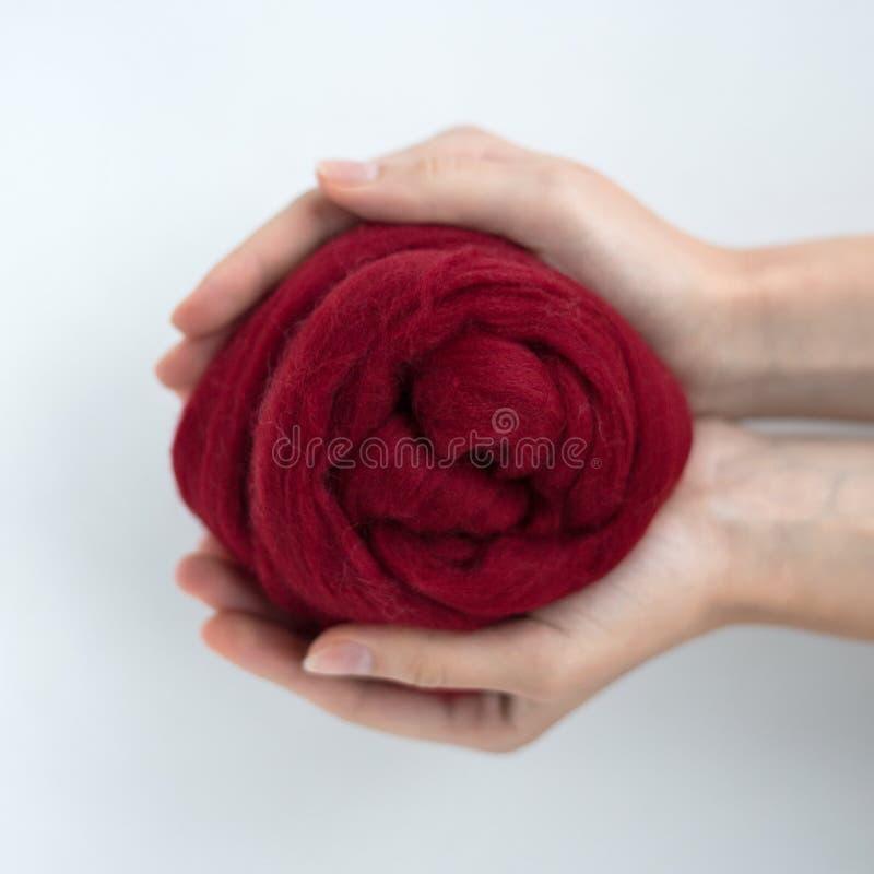 Primo piano della palla della lana merino del Bordeaux in mani immagini stock libere da diritti