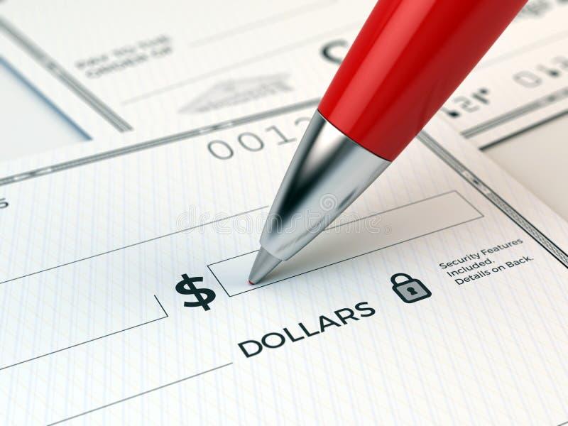 Primo piano della penna rossa che sta riempiendo nell'assegno bancario illustrazione vettoriale