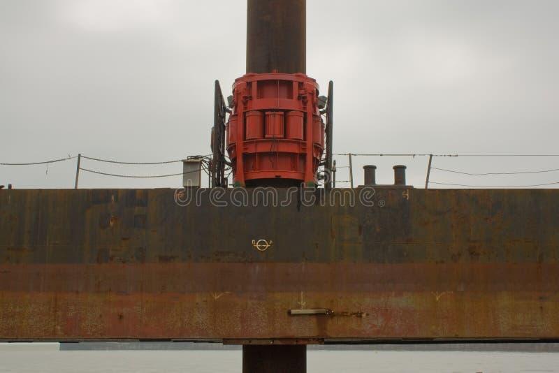 Primo piano della piattaforma di lavoro offshore, New Haven, East Sussex, Regno Unito fotografie stock libere da diritti