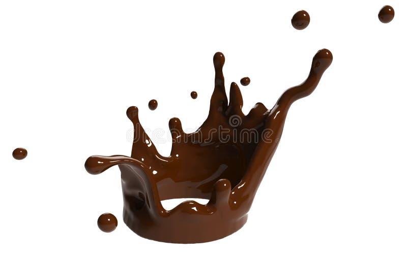 Primo piano della spruzzata del cioccolato isolato su fondo illustrazione 3D rappresentazione 3d royalty illustrazione gratis