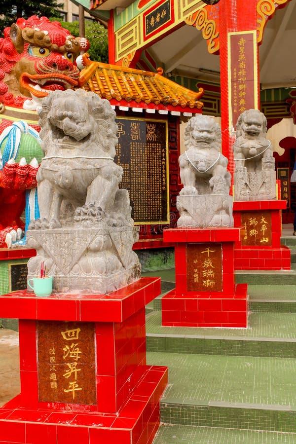 Primo piano della statua di pietra del leone in tempio della baia di rifiuto, Hong Kong fotografia stock