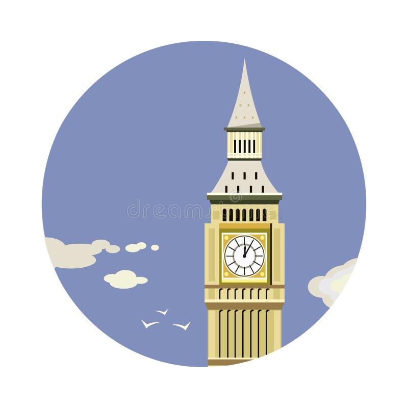 Primo piano della torre di Big Ben con l'icona delle nuvole royalty illustrazione gratis