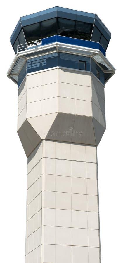 Primo piano della torre di controllo del traffico aereo dell'aeroporto isolata fotografia stock
