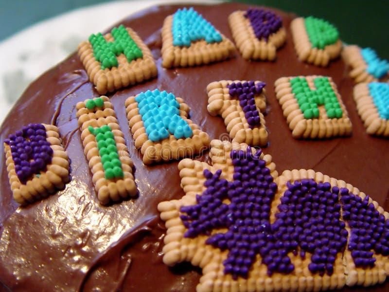 Primo Piano Della Torta Di Compleanno Fotografia Stock Libera da Diritti