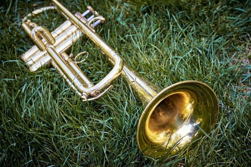 Primo piano della tromba dorata musicale d'ottone dell'orchestra immagini stock libere da diritti