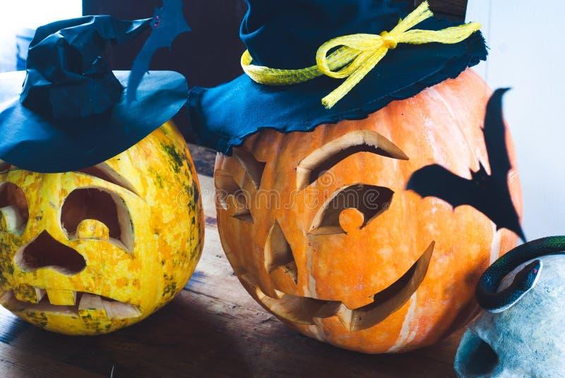 Primo piano della zucca di Halloween, fotografia stock
