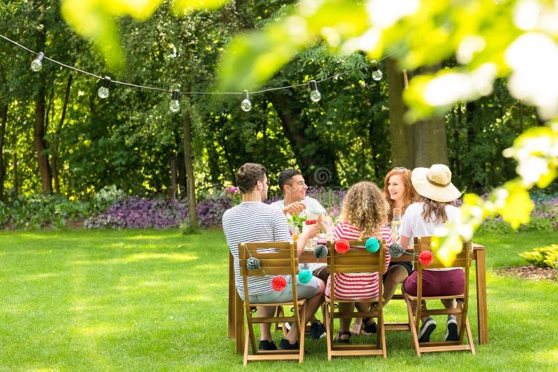 Primo piano delle foglie vaghe nel giardino con un gruppo di amici fotografie stock libere da diritti