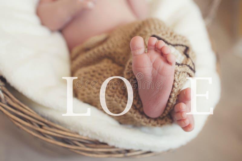 Primo piano delle gambe di un neonato, addormentate in un canestro di vimini fotografia stock libera da diritti
