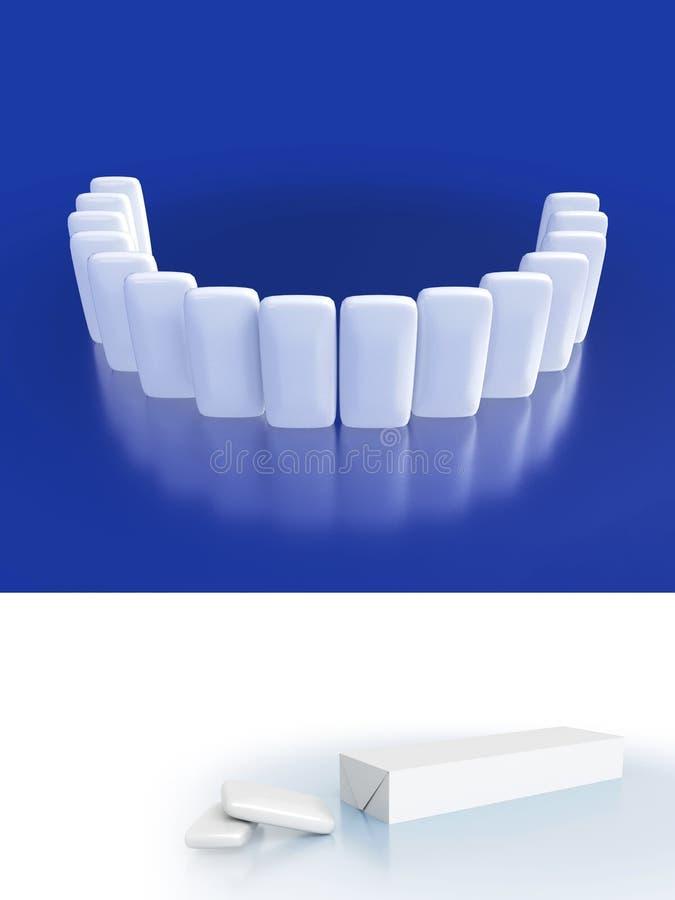 Primo piano delle gomme da masticare brillanti bianche con le riflessioni Cure odontoiatriche dell'illustrazione e bei denti di s royalty illustrazione gratis