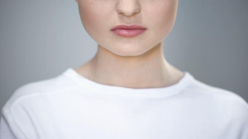 Primo piano delle labbra e del mento della giovane signora, trucco e bellezza, cosmetologia di cura del fronte fotografia stock libera da diritti