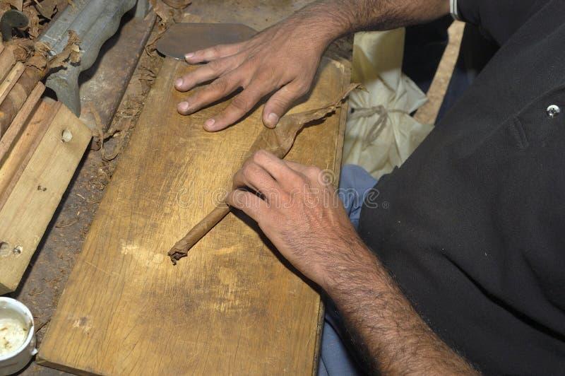Primo piano delle mani che fanno un sigaro dalle foglie del tabacco fotografia stock