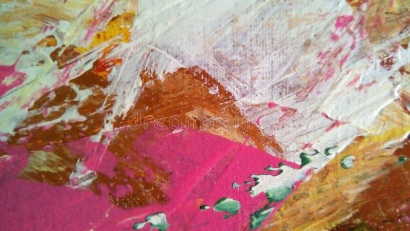 Primo piano delle sbavature della pittura ad olio sulla superficie della tela fotografie stock
