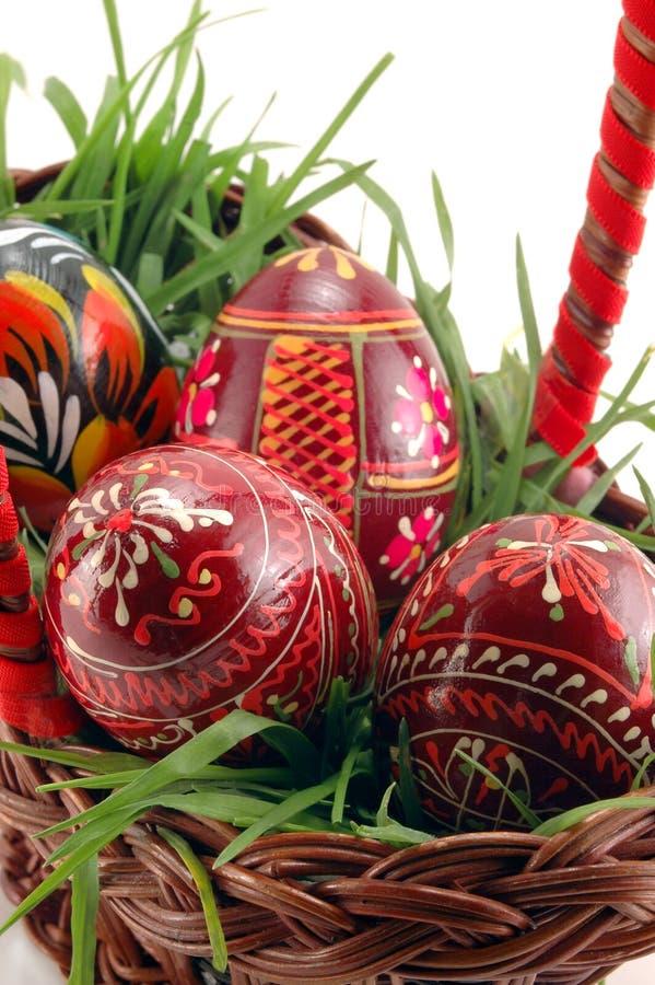 Primo piano delle uova di Pasqua Colorate immagine stock libera da diritti