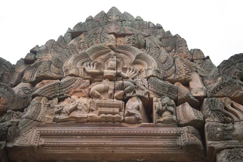 Primo piano dello scultore nella storia di Wat Khao Phanom Rung Castle fotografie stock libere da diritti