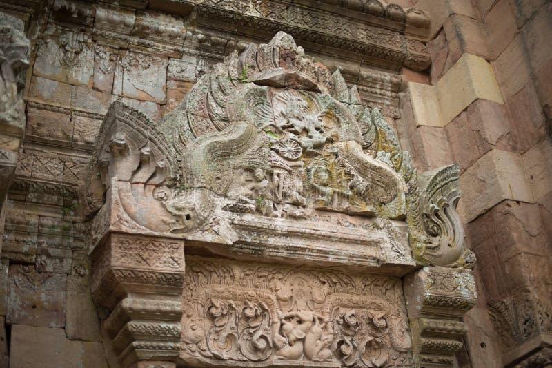 Primo piano dello scultore nella storia di Wat Khao Phanom Rung Castle fotografia stock libera da diritti