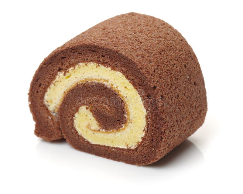 Primo piano dello swiss roll del cioccolato fotografia stock