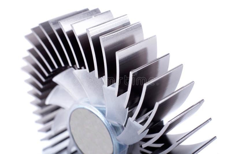 Primo piano di alluminio del dispositivo di raffreddamento immagini stock