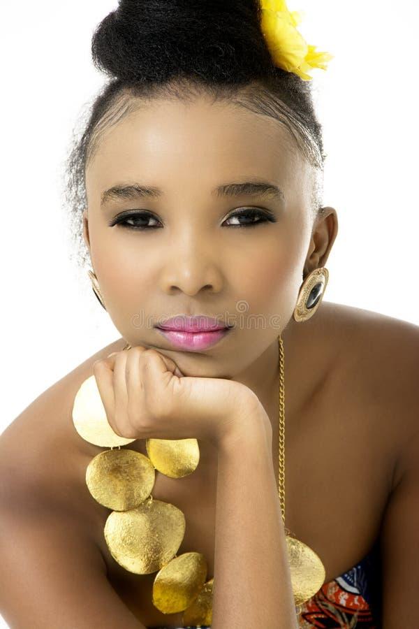 Primo piano di bello modello africano fotografia stock