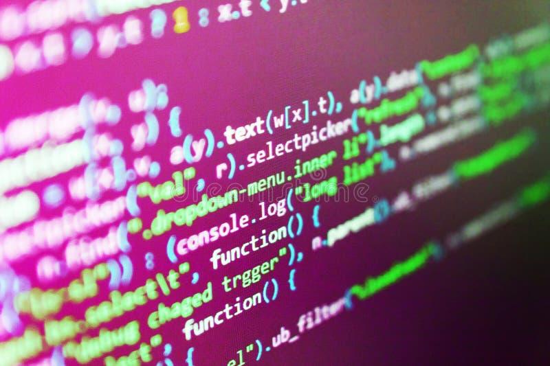 Primo piano di codice sorgente CSS, Javascript fotografie stock