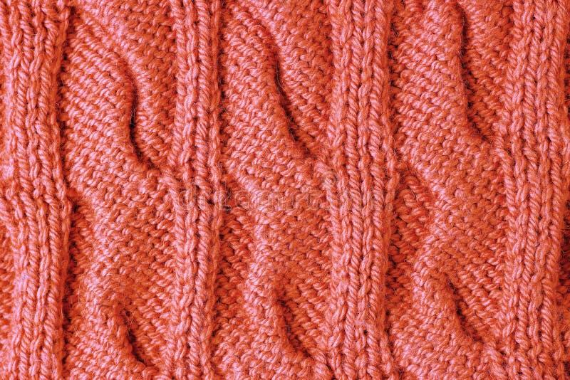 Primo piano di corallo vivente tricottato di colore di tendenza del modello, fondo, struttura fotografia stock
