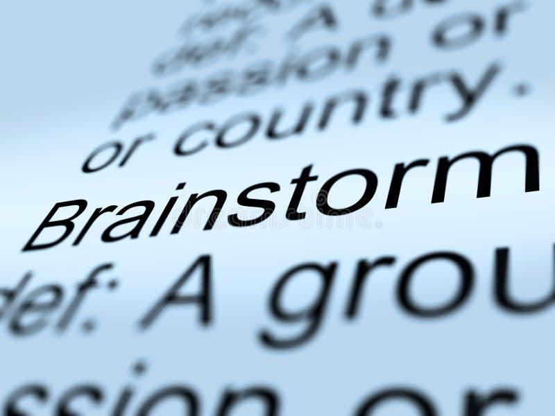 Primo piano di definizione di lampo di genio che mostra i pensieri di ricerca royalty illustrazione gratis