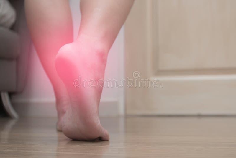 Primo piano di dolore femminile del tallone del piede destro, con il punto rosso, fascite plantari fotografia stock libera da diritti