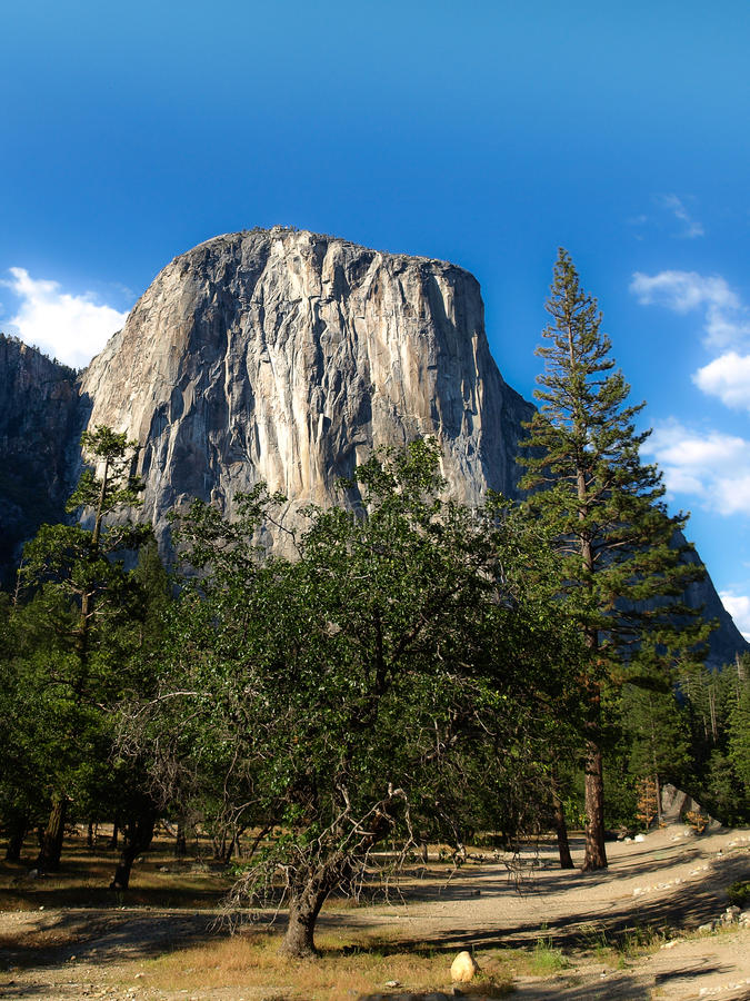 Primo piano di EL Capitan in valle di Yosemite fotografia stock