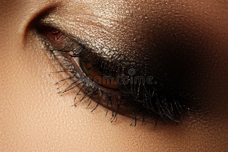 Primo piano di eleganza dell'occhio femminile con marrone scuro classico mA fumoso immagini stock libere da diritti
