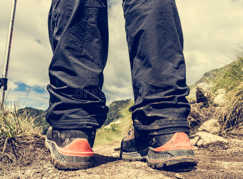 Primo piano di escursione degli stivali fotografia stock