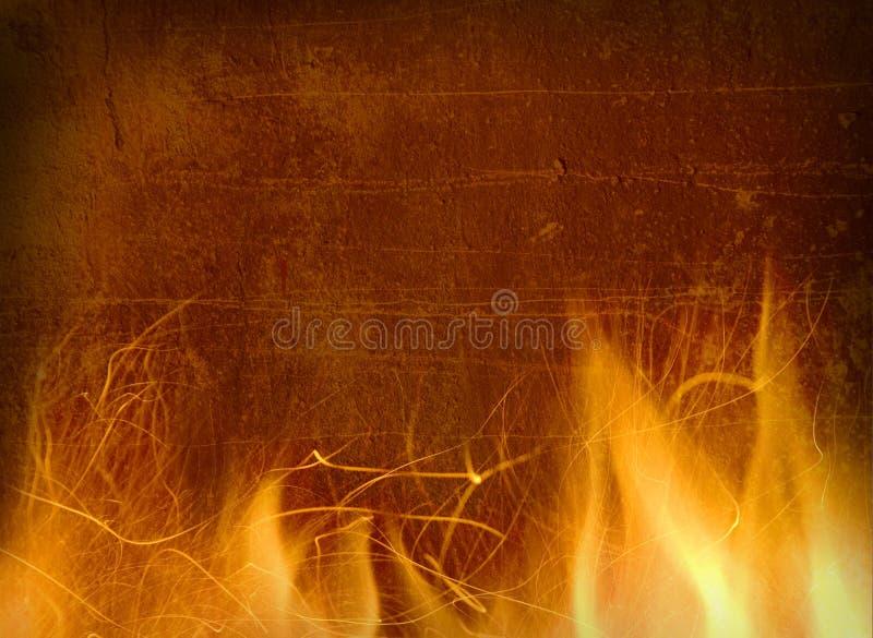 Primo piano di fuoco e delle fiamme su una priorità bassa fotografia stock