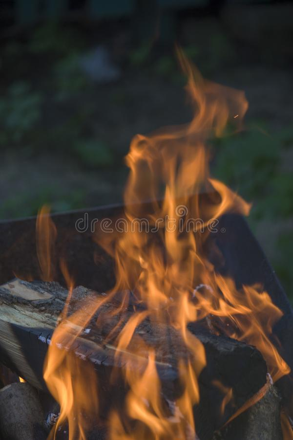 Primo piano di fuoco e delle fiamme su uno sfondo naturale vago fotografie stock