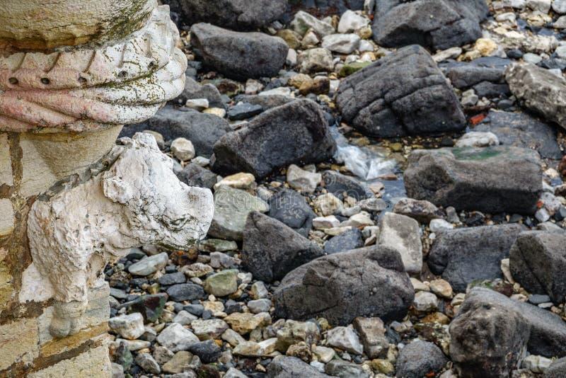 Primo piano di rinoceronte della torre di Belem su bassa marea immagine stock libera da diritti