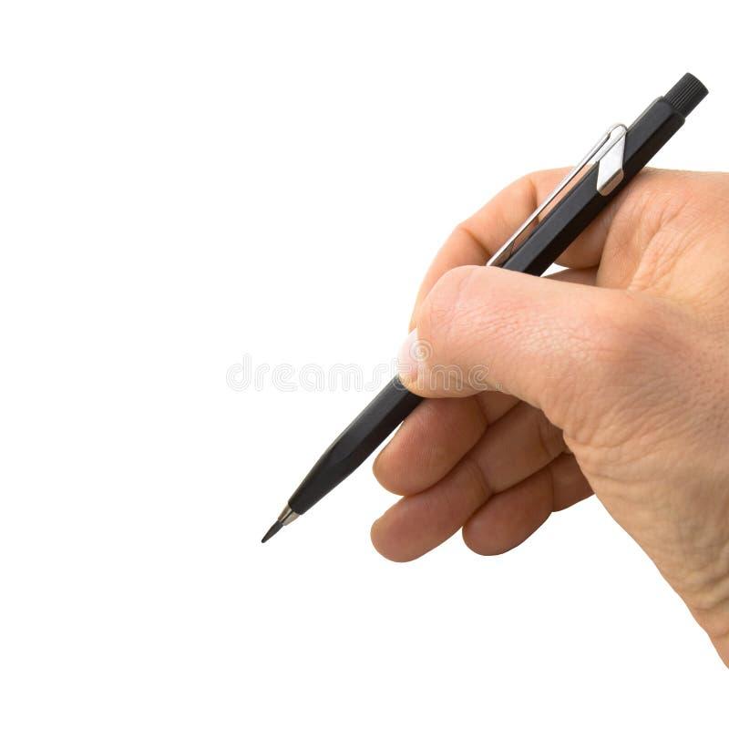 Primo piano di scrittura della matita su un'area in bianco perfetta Selezione facile fotografia stock