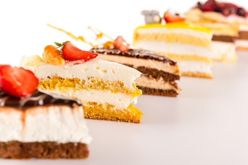 Primo piano di selezione del dolce del dessert acido della fetta fotografia stock libera da diritti