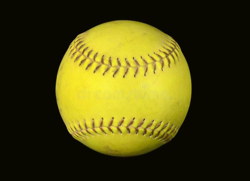 Primo piano di softball giallo fotografia stock libera da diritti