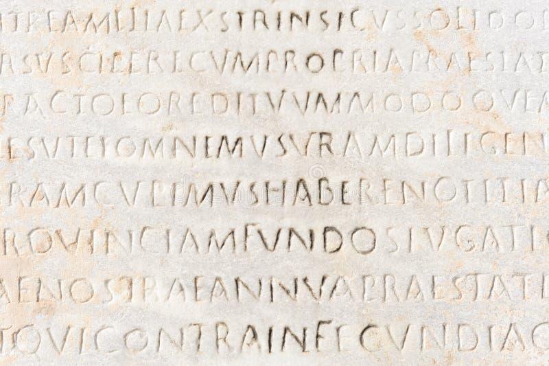 Primo piano di testo latino antico fotografie stock libere da diritti