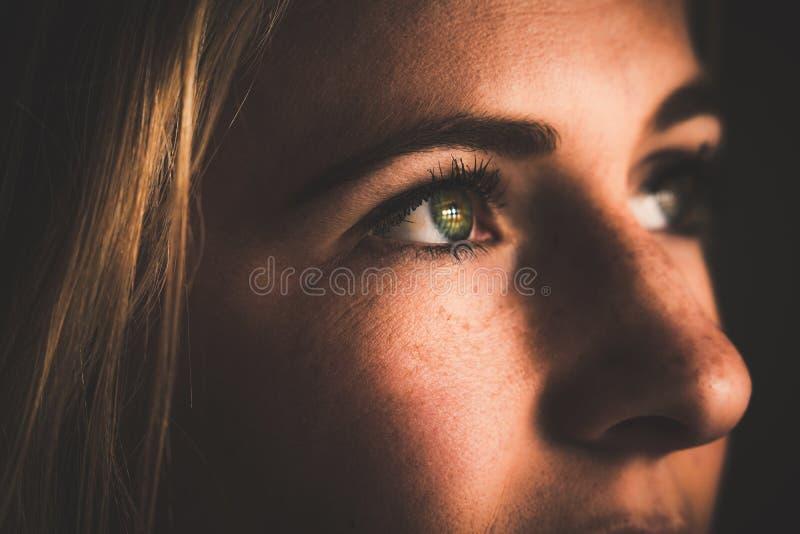 Primo piano di un fronte femminile con i bei occhi verdi che riflettono le barre della prigione fotografia stock