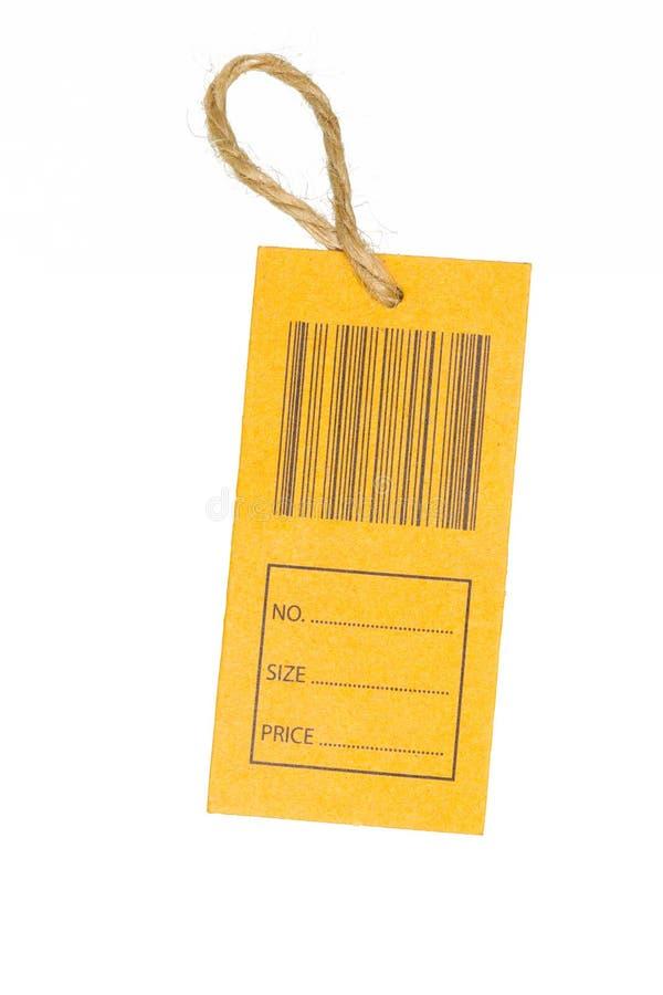 Primo piano di un prezzo da pagare con il codice a barre isolato sul backgrou bianco fotografia stock libera da diritti