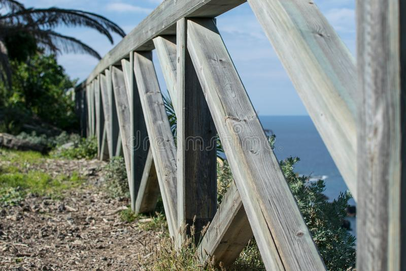 Primo piano di un recinto di legno fotografia stock