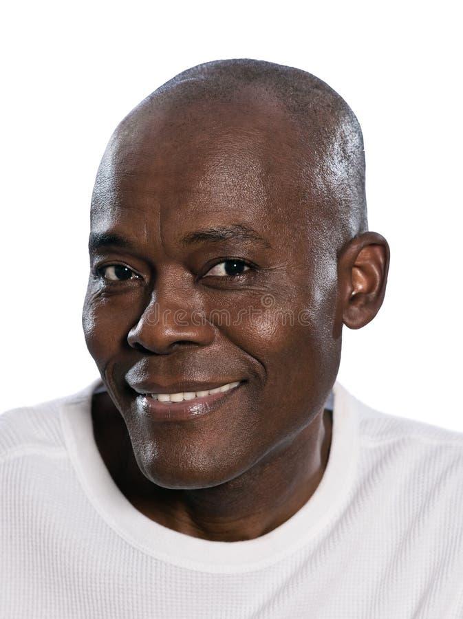 Primo piano di un sorridere afroamericano dell'uomo immagini stock